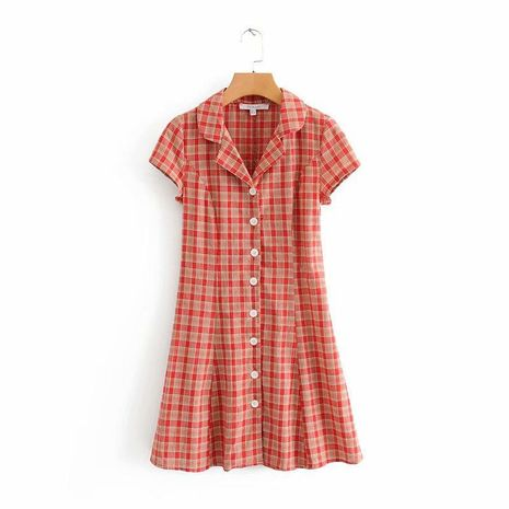 Summer red plaid suit collar dress NHAM157331's discount tags