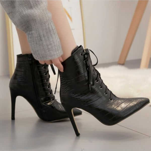 Head high heel crocodile straps sexy female ankle boots NHSO157343