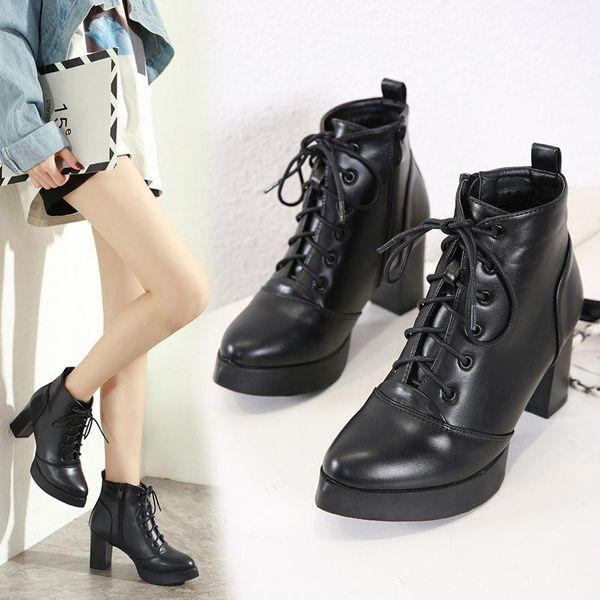 Wild straps high heel Martin boots waterproof boots NHSO157349