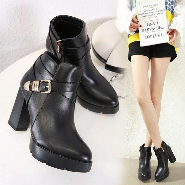 Korean version of the high-heeled platform metal buckle boots NHSO157351