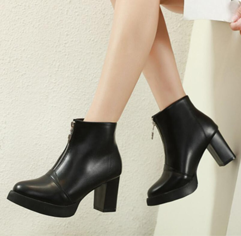 European and American style front zipper thick high heel platform boots NHSO157352