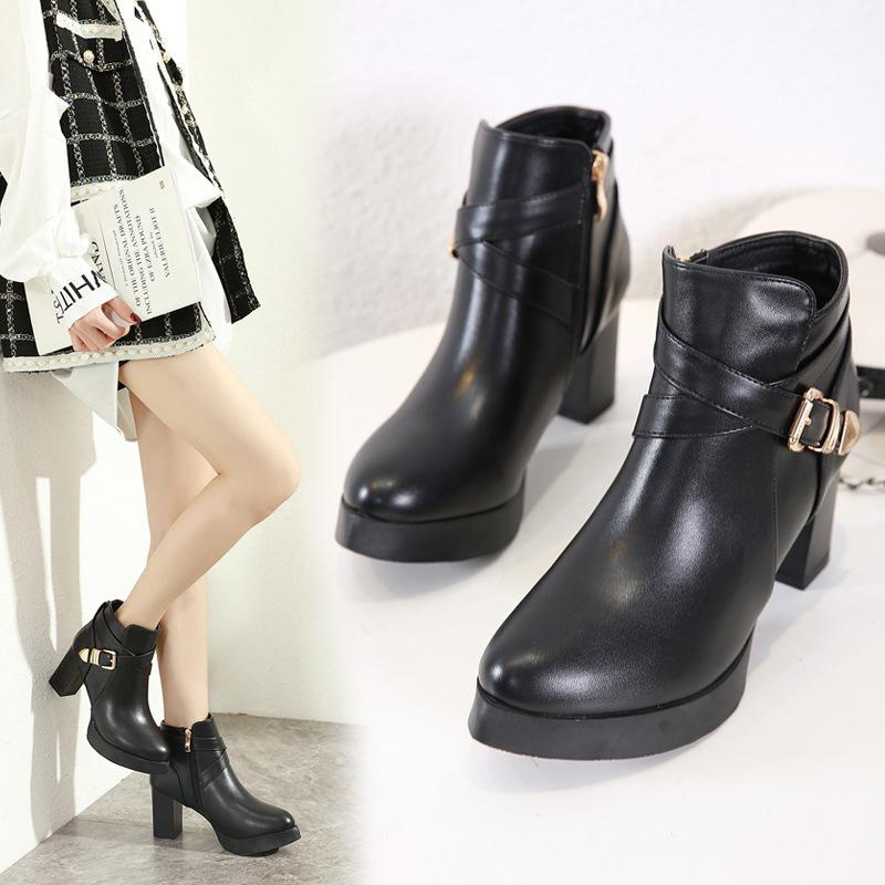 Thick high heel platform Martin boots metal buckle round head boots NHSO157355