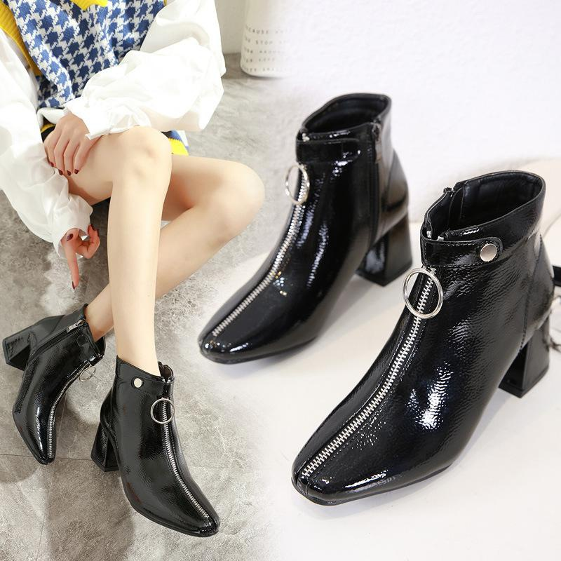 European and American style Martin boots ring front zipper square head thick high heel ankle boots NHSO157360