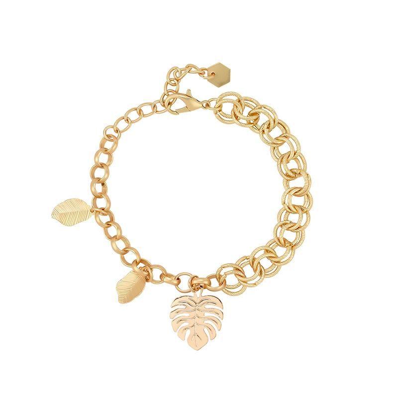 Korean version of the creative personality fashion asymmetric geometric leaves alloy bracelet NHXS174471