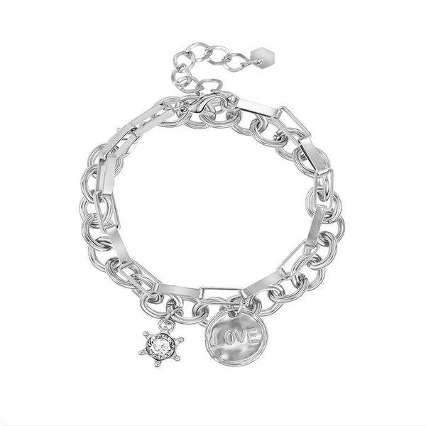 Personality Love Double Layer Geometric Rectangular Chain Shaped Diamond Alloy Bracelet NHXS174472