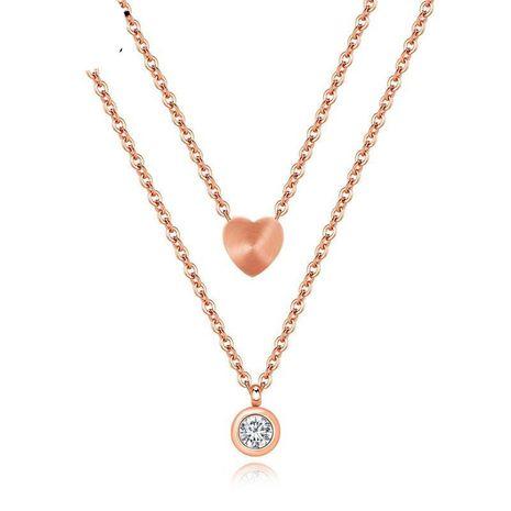 Acier au titane or rose double couche amour diamant en forme de coeur collier chaîne de clavicule NHOP174457's discount tags
