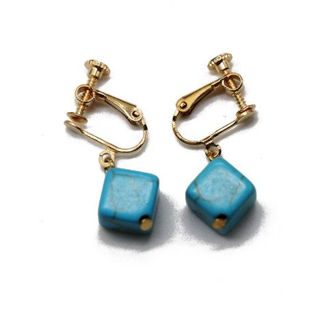 Square three-dimensional turquoise pendant ear clip screw ear clip simple turquoise ear clip earrings NHOM174152's discount tags
