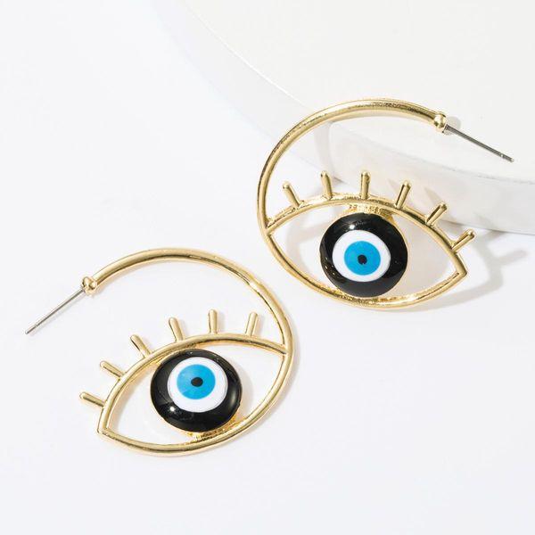 Fashion C-type alloy dripping eye earrings female NHJE174300