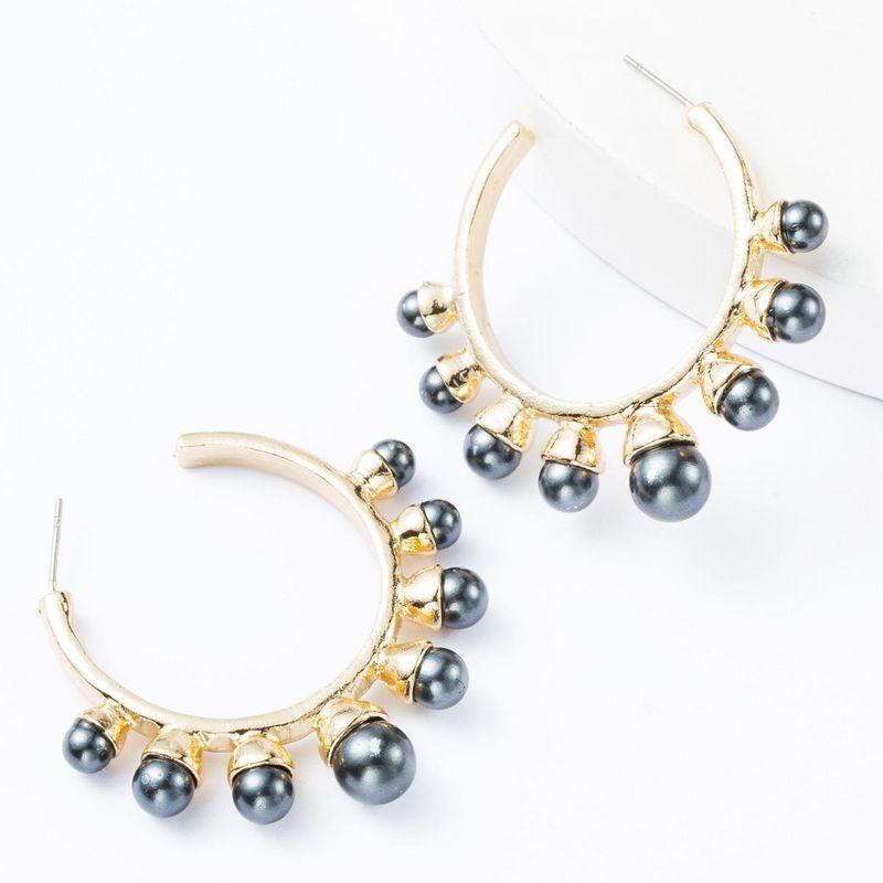 Fashion C-shaped alloy inlaid pearl earrings female earrings NHJE174332