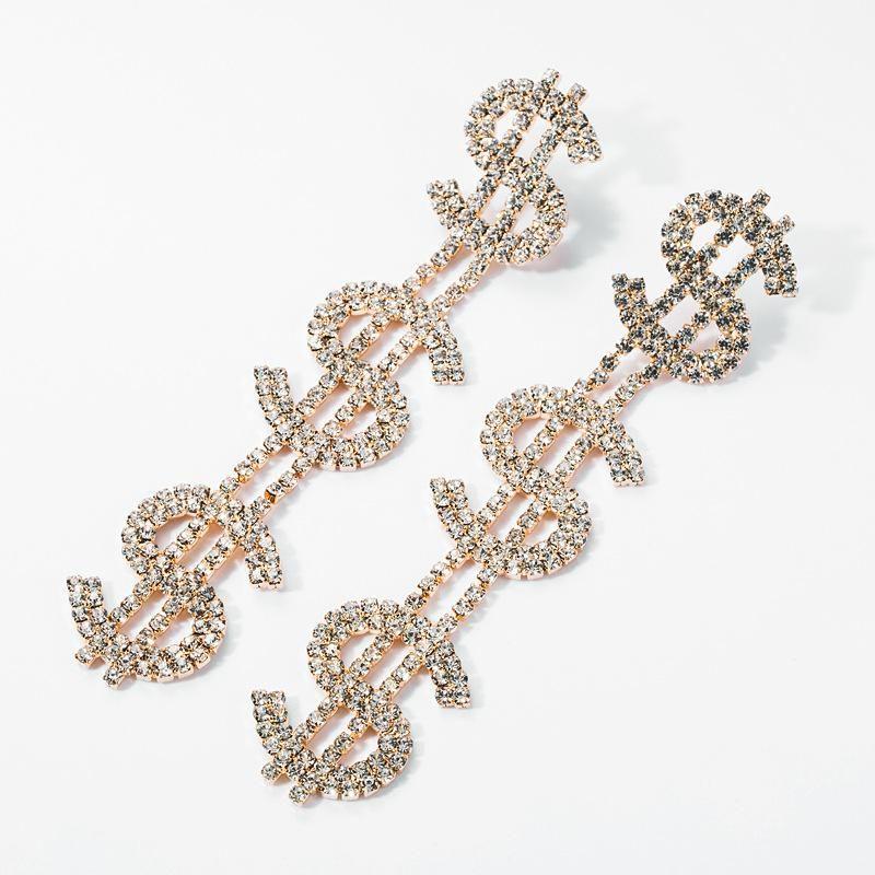 Earrings multi-layer alloy diamond rhinestone dollar sign earrings female retro full diamond earrings NHJE174388