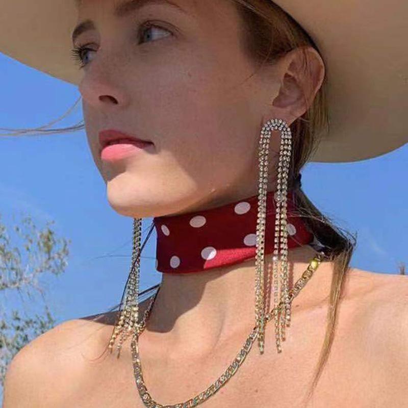Arched alloy diamond long tassel earrings female earrings NHJE174401
