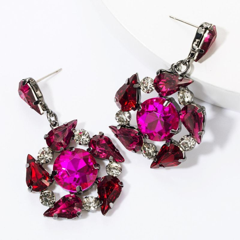 Earrings multi-layer alloy diamond glass drill rhinestone flower full diamond earrings female super flash earrings NHJE174288