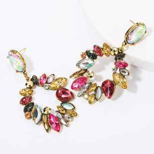 Fashion geometric multi-layer alloy diamond glass drill full diamond earrings female retro earrings NHJE174290's discount tags