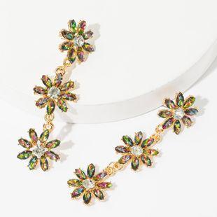 Multi-layer alloy diamond rhinestone flower long earrings female sweet earrings NHJE174299's discount tags