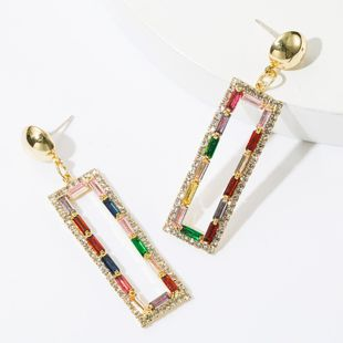 Earrings diamond rhinestone color diamond simple rectangular earrings S925 silver earrings female NHJE174302's discount tags