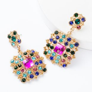 Earrings new exaggerated multi-layer square rhinestone diamonds and diamonds earrings NHJE174311's discount tags
