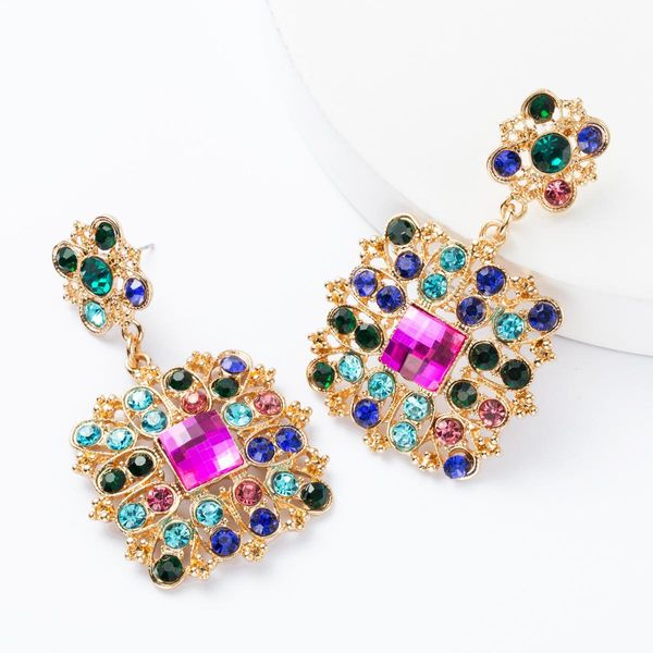 Earrings new exaggerated multi-layer square rhinestone diamonds and diamonds earrings NHJE174311