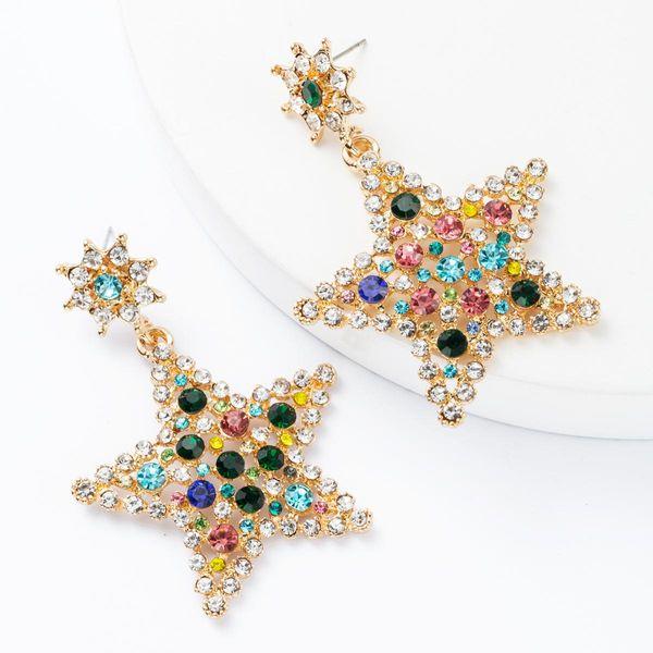 Fashion multi-layer stars five-pointed star diamond rhinestone full diamond earrings female NHJE174312