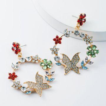 Alloy Diamond Rhinestone Multilayer Floral Wreath Butterfly Earrings Dreaming Earrings NHJE174313