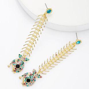 Alloy bone diamond rhinestone color diamond piranha earrings female retro earrings NHJE174314's discount tags