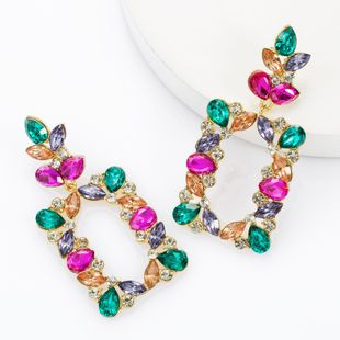 Fashion multi-layer alloy diamond rhinestone square full diamond earrings female super flash earrings NHJE174315's discount tags