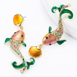 Alloy Drops Oil Rhinestone Studded Rich Squid Earrings Women Fashion Earrings NHJE174316's discount tags