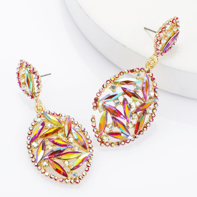 Multi-layer alloy diamond-studded geometric earrings women's fashion super flash full diamond stud earrings NHJE174318