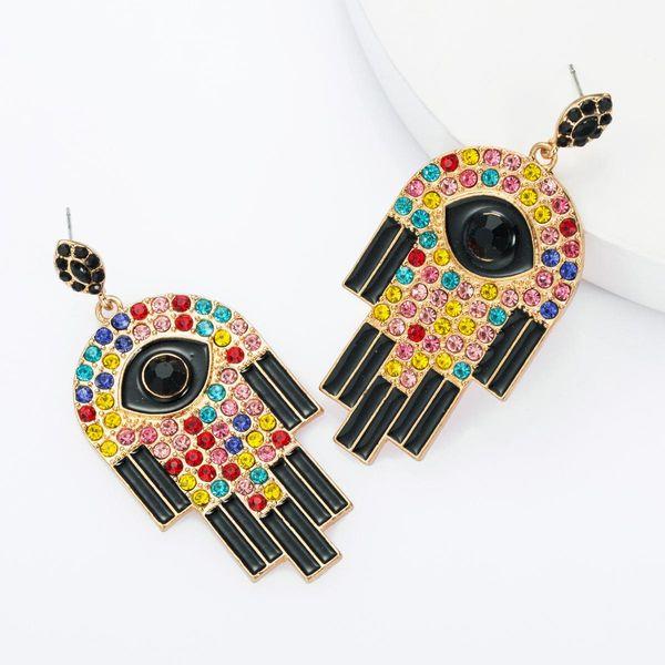Fashion eyes with diamond drop oil earrings female retro earrings NHJE174319