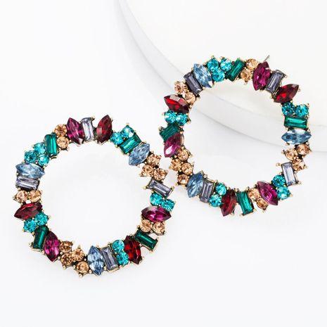 Pendientes de diamantes de imitación de diamantes grandes de aleación de círculo grande pendientes de moda femenina NHJE174317's discount tags