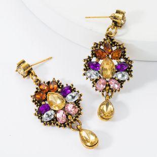 Drop-shaped earrings multi-layer alloy diamonds acrylic earrings female retro earrings NHJE174322's discount tags