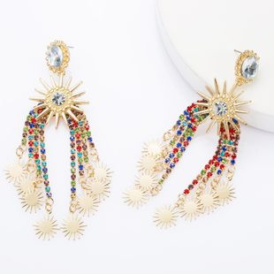 Arch alloy rhinestone acrylic diamond multi-layer sunflower flower tassel earrings creative earrings NHJE174326's discount tags