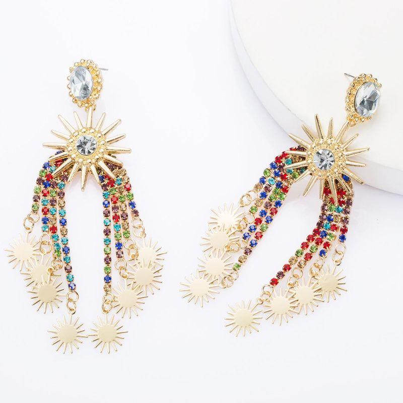 Arch alloy rhinestone acrylic diamond multi-layer sunflower flower tassel earrings creative earrings NHJE174326