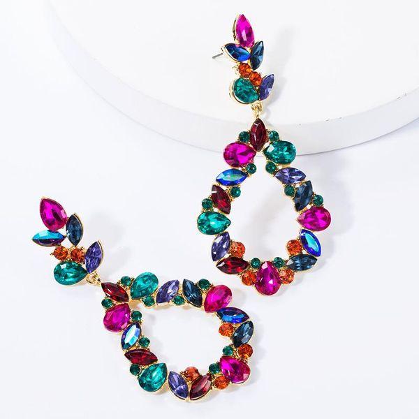 Drop-shaped multi-layer diamond-studded glass drill full diamond earrings female fashion super flash earrings NHJE174360