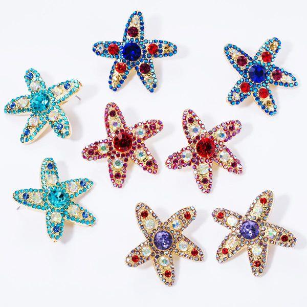 Cute sweet alloy diamond rhinestone glass drill five-pointed star full diamond earrings female NHJE174363