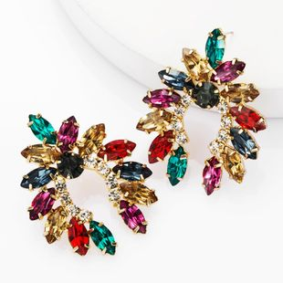 Fashion alloy diamond rhinestone geometric earrings female super flash full diamond earrings NHJE174329's discount tags