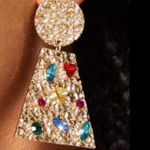 Round trapezoidal alloy diamond diamond drill glass diamond geometric earrings female retro metal earrings NHJE174365's discount tags