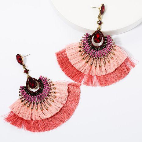Pendientes de borla de cristal con múltiples diamantes en forma de gota de múltiples capas pendientes retro femeninos Bohemian NHJE174387's discount tags