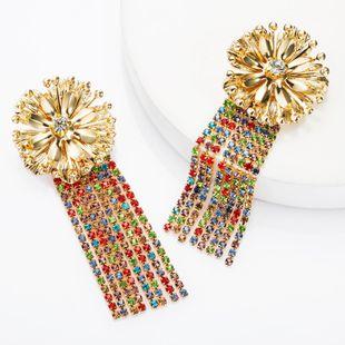 Fashion alloy flower rhinestones with diamonds long tassel earrings female retro boho NHJE174394's discount tags