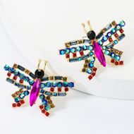 Sweet alloy diamond glass drill rhinestone butterfly earrings female fashion female earrings NHJE174370
