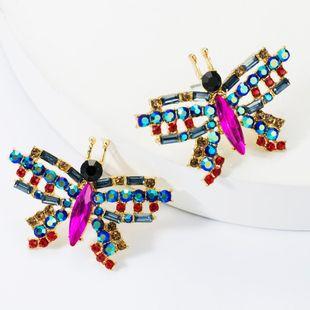 Sweet alloy diamond glass drill rhinestone butterfly earrings female fashion female earrings NHJE174370's discount tags