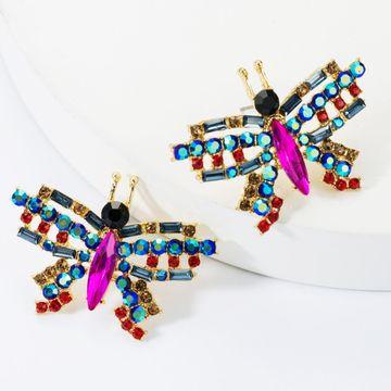 Sweet alloy diamond glass drill rhinestone butterfly earrings female fashion female earrings NHJE174370