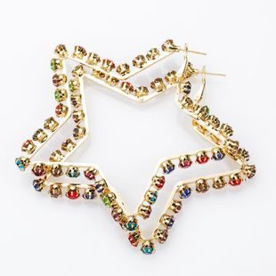 Earrings new color diamond five-pointed star earrings women's fashion simple earrings NHJE174395's discount tags