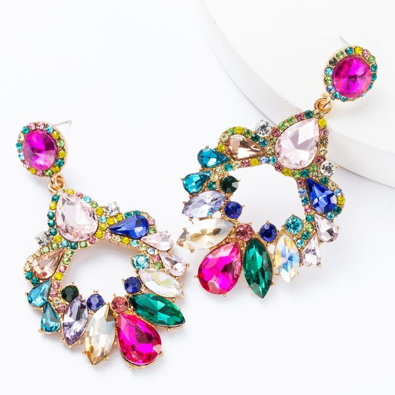 Fashion multi-layer drop-shaped rhinestone glass drill diamond geometric diamond earrings female super flash earrings NHJE174396