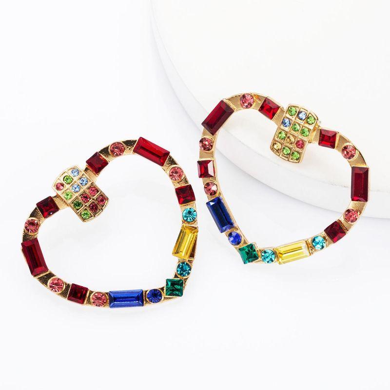 Hollow love diamondshaped diamond drill rhinestone full diamond earrings female NHJE174397