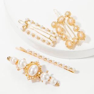 Fashion alloy set with pearl hairpin set side clip top clip one word clip four piece set NHJE174281's discount tags