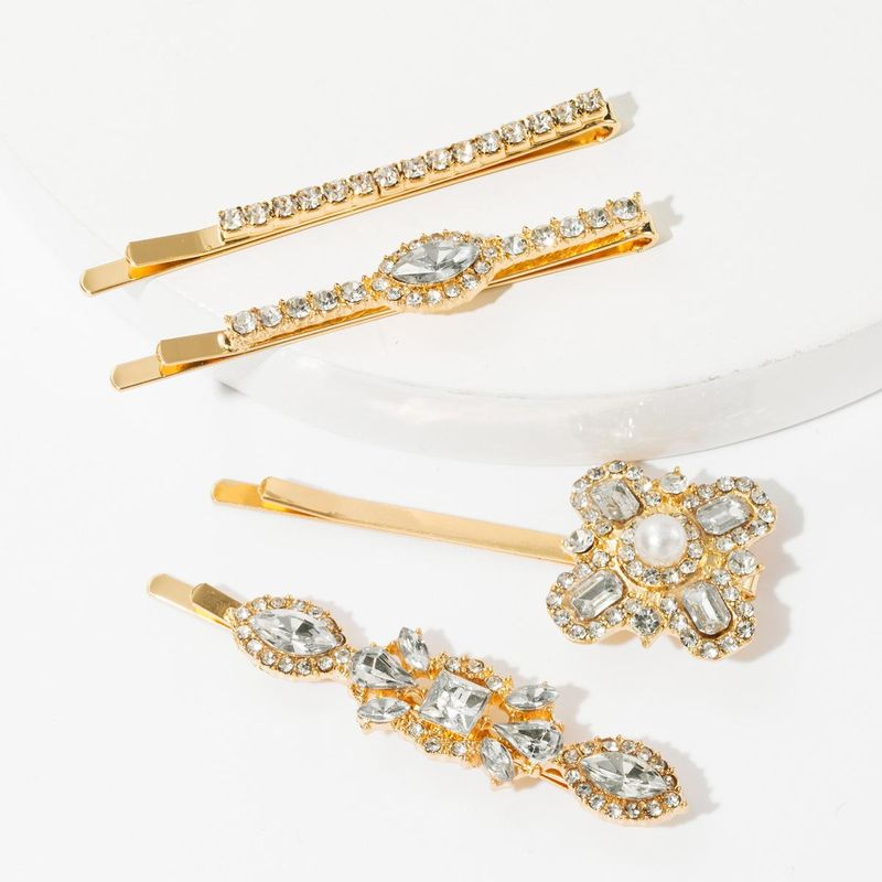 Alloy diamondstudded hair clip set into a super flash full drill word clip fourpiece set NHJE174298