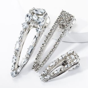 Diamond hair clip set super flash size duckbill clip three-piece banquet hairpin NHJE174337's discount tags