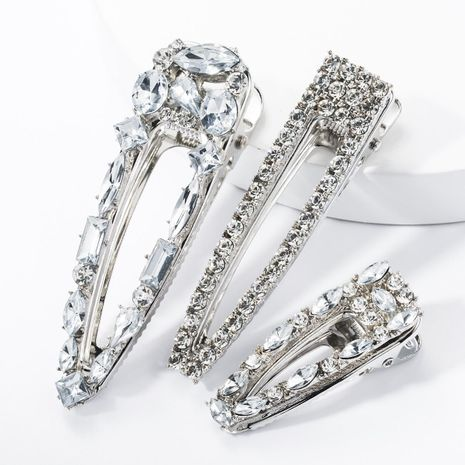 Diamond hair clip set super flash size duckbill clip three-piece banquet hairpin NHJE174337's discount tags