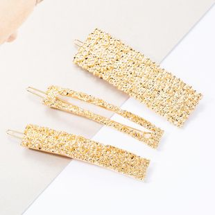 Fashion simple wild square alloy hairpin set top clip three-piece NHJE174343's discount tags