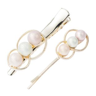 Fashion multi-layer round alloy inlaid pearl hairpin set combination duckbill clip word clip two-piece NHJE174353's discount tags